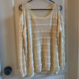 Listicle Cold Shoulder Knit Sweater
